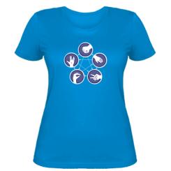 Жіноча футболка Камінь, ножиці, папір, ящірка, спок