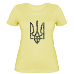 Купити Жіноча футболка Камуфляжний герб України