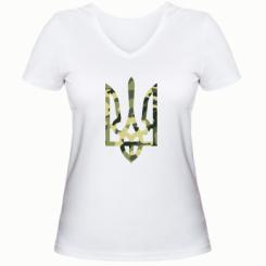Купити Жіноча футболка з V-подібним вирізом Камуфляжний герб України