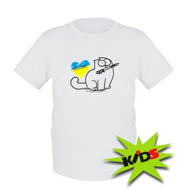 Дитяча футболка Кіт-патріот