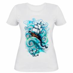 Жіноча футболка Корабель на хвилях