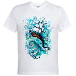 Чоловіча футболка з V-подібним вирізом Корабель на хвилях