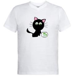Купити Чоловічі футболки з V-подібним вирізом Кішечка і акваріум