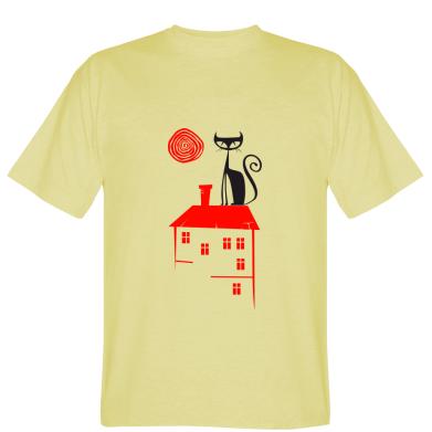 Футболка Кішка на даху будинку