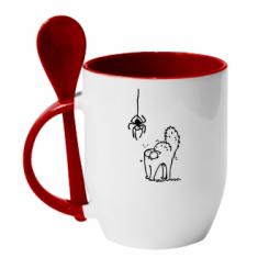 Кружка з керамічною ложкою Кіт та павук