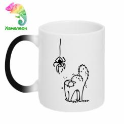 Кружка-хамелеон Кіт та павук