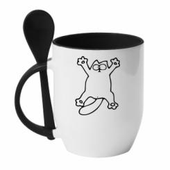 Кружка з керамічною ложкою Кіт-зірка