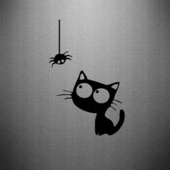 Наклейка Котик і павук
