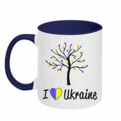 Купити Кружка двокольорова I love Ukraine дерево