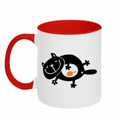 Купити Кружка двокольорова Жирний кіт