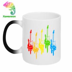 Кружка-хамелеон Різнокольорові гітари