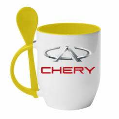 Купити Кружка з керамічною ложкою Chery Logo