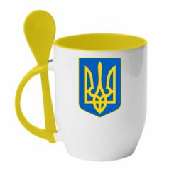 Купити Кружка з керамічною ложкою Герб неньки-України