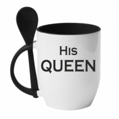 Кружка з керамічною ложкою His Queen