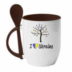 Купити Кружка з керамічною ложкою I love Ukraine дерево