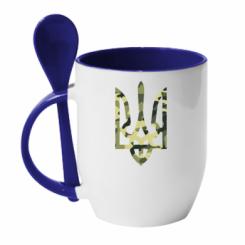 Купити Кружка з керамічною ложкою Камуфляжний герб України