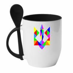 Купити Кружка з керамічною ложкою Кольоровий герб