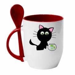 Купити Кружка з керамічною ложкою Кішечка і акваріум