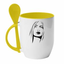 Купити Кружка з керамічною ложкою Обличчя дівчини