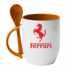 Купити Кружка з керамічною ложкою логотип Ferrari