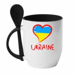 Купити Кружка з керамічною ложкою Love Ukraine