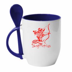 Купити Кружка з керамічною ложкою Sagittarius (Стрілець)