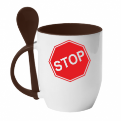 Купити Кружка з керамічною ложкою STOP