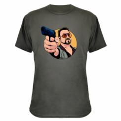 Камуфляжна футболка Лебовськи з пістолетом