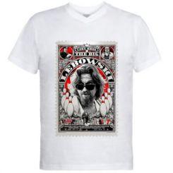 Чоловіча футболка з V-подібним вирізом Lebowski Poster