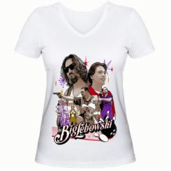 Жіноча футболка з V-подібним вирізом Lebowski