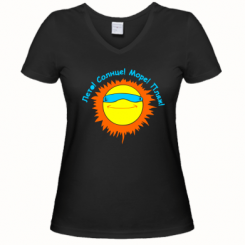 Купити Жіноча футболка з V-подібним вирізом Літо, сонце, море, пляж