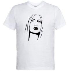 Купити Чоловічі футболки з V-подібним вирізом Обличчя дівчини