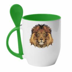 Кружка з керамічною ложкою Lion Poly Art