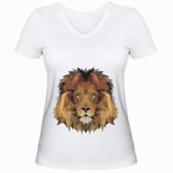Жіноча футболка з V-подібним вирізом Lion Poly Art