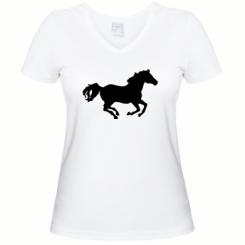 Купити Жіноча футболка з V-подібним вирізом Конячка