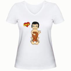 Купити Жіноча футболка з V-подібним вирізом Love is... Sex :)