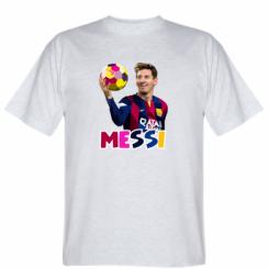 Футболка Мессі з м`ячем, полігональний портрет