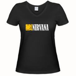 Купити Жіноча футболка з V-подібним вирізом Nirvana смайл