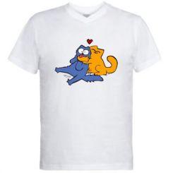 Чоловіча футболка з V-подібним вирізом Обнімашкі кольорові