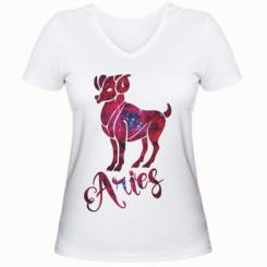 Жіноча футболка з V-подібним вирізом Овен зірки