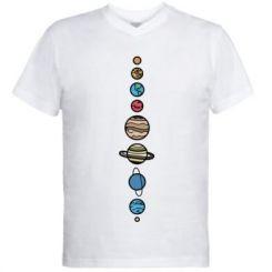Чоловіча футболка з V-подібним вирізом Parade of planets