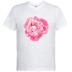 Чоловіча футболка з V-подібним вирізом Півонія фарби
