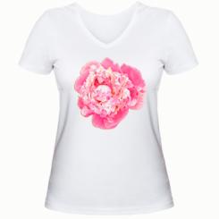 Жіноча футболка з V-подібним вирізом Півонія фарби