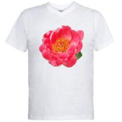 Чоловіча футболка з V-подібним вирізом Півонія