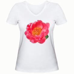 Жіноча футболка з V-подібним вирізом Півонія