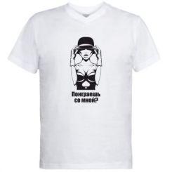 Купити Чоловічі футболки з V-подібним вирізом Пограєш зі мною?