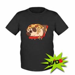 Дитяча футболка Pug and pizza