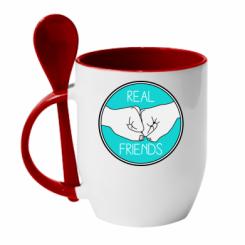 Кружка з керамічною ложкою Real Friends