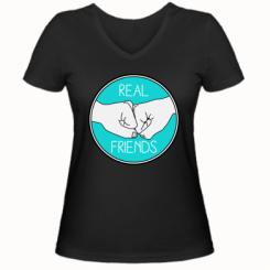 Жіноча футболка з V-подібним вирізом Real Friends