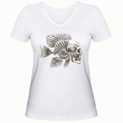 Жіноча футболка з V-подібним вирізом Риба-череп